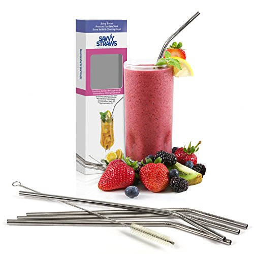 Stainless Steel Straws by Savvy Straws - 9.5 inches Long - Set of 5 + Cleaning Brush - Reusable Metal Drinking Straws - Bent Thin Width Fits Popular To Go Cups & 20 + 30 oz Yeti Tumblers