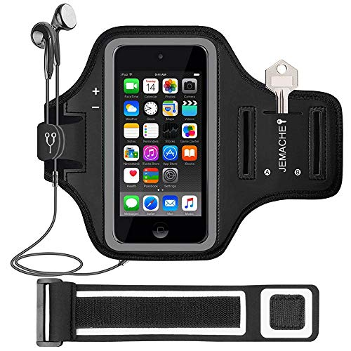 iPod Touch 6th/5th Generation Armband, JEMACHE Gym Running/Exercise/Workout Sport Arm Band Case for iPod Touch 6/5/4 Generation with Card/Key Holder (Black)