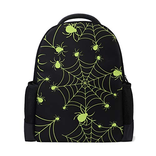 ColourLife Book bag Halloween Green Spider Web Backpack School Bag Casual Travel -