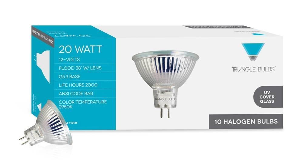 Triangle Bulbs T10185-10 (10 pack) - Q20MR16/FL/CG, 20 Watt, MR16 With UV Glass Cover, 12 Volt, G5.3 Bi-pin Base, Halogen Flood Light Bulb, 10  Pack