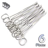 DDP SET OF 6 PENNINGTON FORCEPS SLOTTED 6'' STAINLESS STEEL PROFESSIONAL BODY PIERCING TOOL
