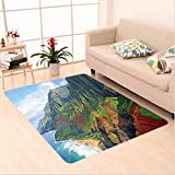 Nalahome Custom carpet n Decorations Na Pali Coast Kauai Hawaii Seashore Greenery Adventurous Journey Landscape Scenery area rugs for Living Dining Room Bedroom Hallway Office Carpet (5' X 8')