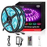 DAYBETTER Led Strip Lights 32.8ft Waterproof Flexible Tape Lights Color Changing 5050 RGB 300 LEDs Light Strips Kit with 44 Keys IR Remote Controller and 12V Power Supply for Home