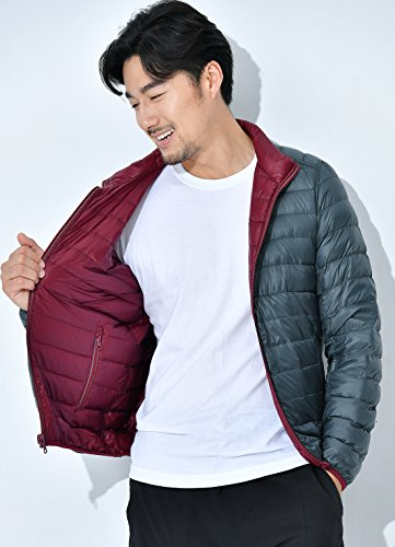 Men's Ultra Down Wine Reversible Chouyatou Packable Red Full Zip Collar Stand Jacket q8d6X