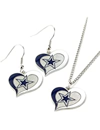 NFL Swirl Heart Earrings & Pendant Set