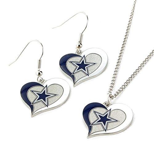 NFL Dallas Cowboys Swirl Heart Earrings & Pendant Set - Sterling Silver Dallas Cowboys Earring