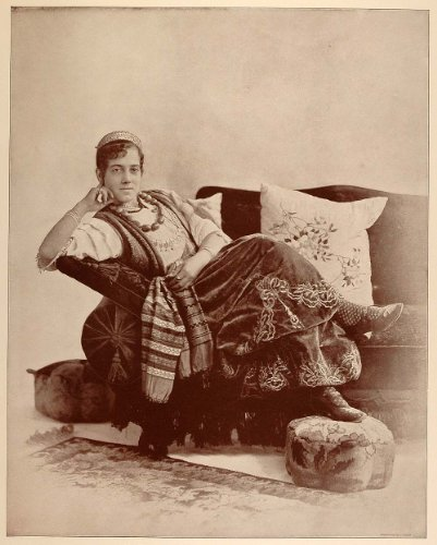 1893 Chicago World's Fair Portrait Jewish Dancing Girl Dancer Syria Costume - Original Halftone Print - Syria Costume For Kids