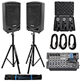 Samson Expedition XP800 800w 8'' PA DJ Speakers+Powered Mixer+Mics+Cables+Stands