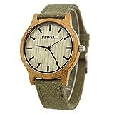 Bewell Men's Bamboo Canvas Strap Wooden Watch Quartz Lightweight Casual Wristwatch W134A