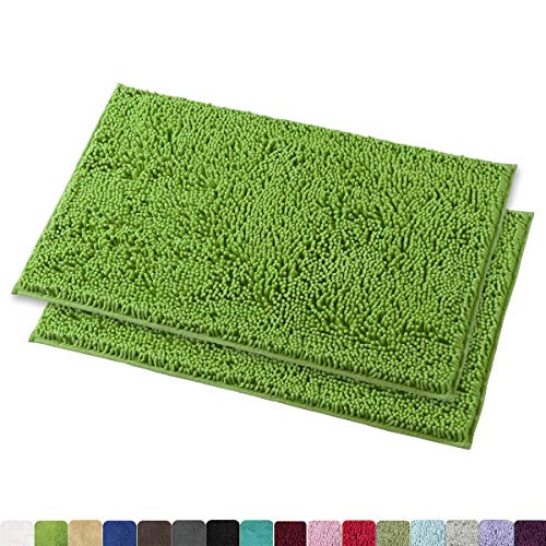 (MAYSHINE 16x24 inches Non-Slip Bathroom Rug Shag Shower Mat Machine-Washable Bath mats with Water Absorbent Soft Microfibers, 2 Pack, Green)