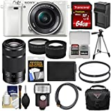 Sony Alpha A6000 Wi-Fi Digital Camera & 16-50mm Lens (White) with 55-210mm Lens + 64GB Card + Case + Flash + Battery/Charger + Tripod Kit