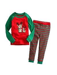 Little Boys Girls Kids Toddler Reindeer Christmas Pjs Sleepwear Cotton Pajamas Sets
