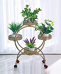 QiangDa Planta de la Planta- Hierro Multi - Storey Flor Racks Movible Push - Tire Macetas Balcón De La Sala Baldosas De Flores Estante Estantería en Maceta Creativa Cremallera (Color : A)