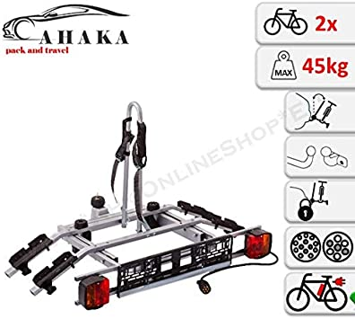 7 pin Lightboard AHAKA Towbar Tow Bar Mounted Rear Bike Rack for 2 Bikes Tow hitch Cycle Carrier Tilt System theft Protection