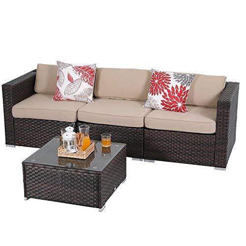 PHI VILLA Outdoor Sectional Furniture- All Weather Patio Rattan Sofa Set (4-Piece, Beige)