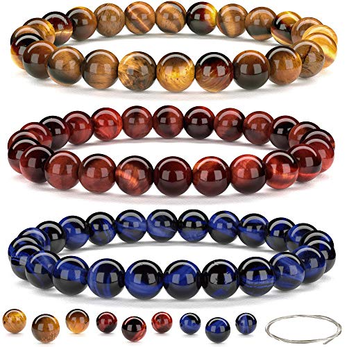 Beaded Gemstone Bracelets for Men and Women: Lava, Onyx and Tiger Eye Bracelet Sets with Spare Beads and Stretch Cord…