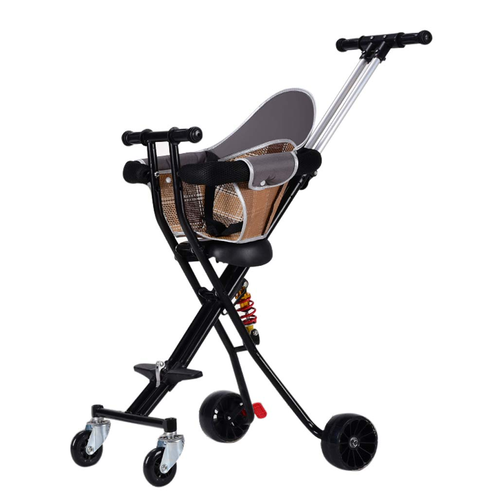Foldable Baby Pushchair with Anti-Shock Spring - Lightweight Kid's Stroller 4-Wheel Outdoor Buggy Travel System, 95 cm(Fold: 7847 cm)