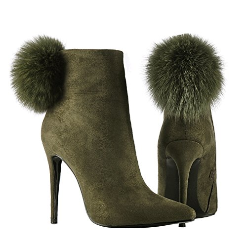 High Dress Zipper Shoes onlymaker Side for Green Booties Toe Women Heels Pom Ankle Boots Pointed Poms 8qgz8a