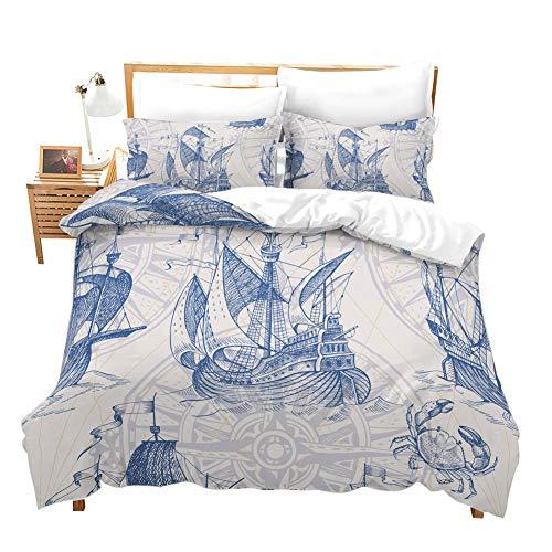 Erosebridal Nautical Decor Duvet Cover Set Sailboat Quilt Cover Set King Size Blue Vintage Style Bedspreads Microfiber Bedding Set for Kids, Teens, Adults (Sets Style Bedding Vintage)
