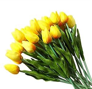 10 Piezas Tulipán Flores Artificiales 35 cm Tacto Verdadero Material de PU Adorno para Boda Ceremonias Navidad Hogar Decoración (Amarillo)