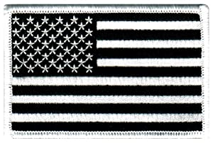 American Flag Embroidered Patch Black & White United States of America Subdued Military Uniform Emblem