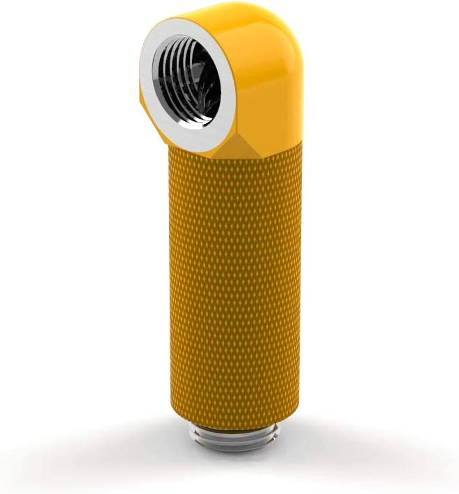 Yellow PrimoChill Male to Female G1//4 90 Degree Rotary 40mm Extension Elbow Fitting