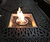 Cheap Cast Aluminum Patio Fire Table Propane Dining Double Burner Fire Pit Table Desert Bronze