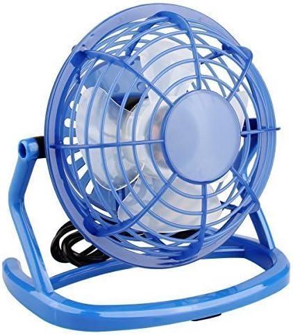 Blue USB Fan Mini USB Desktop Fan Office Personal Fan Portable Summer Cooling Fan with 360 Rotation