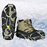 Walk Traction Ice Cleat Spikes Crampons Stainless Steel Chain, Universal Flexible Anti-Slip Ice