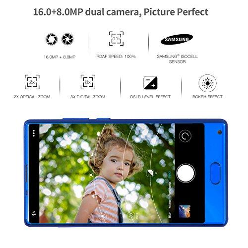 DOOGEE MIX, 4G Unlocked Smartphones Android 7.0 - 5.5 Inch AMOLED HD Screen - MediaTek Helio P25 2.5GHz - 3380mAh Battery - 4GB RAM+64GB ROM - 8MP+16MP Dual Cameras - Unlocked Cell Phones, Blue