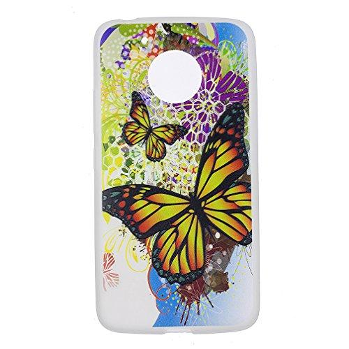 Funda Motorola Moto G5 PLUS,XiaoXiMi Carcasa de Silicona TPU Suave y Esmerilada Funda Ligero Delgado Carcasa Anti Choque Durable Caja de Diseño Creativo - Flores de Datura Mariposa