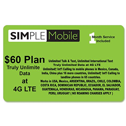 Simple Mobile Triple Cut ( 3 in 1 ) Sim Card Wtih $60 Plan (1 - From Usa Argentina To Shipping