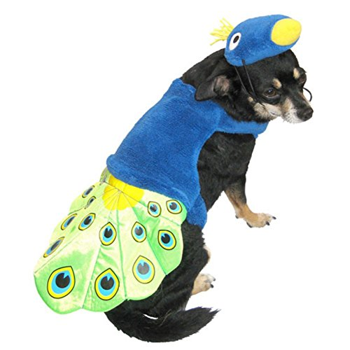 Peacock Dog Costume Colorful Bird Pet Outfit with Hat S