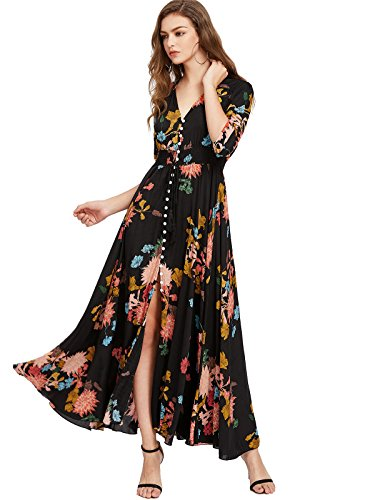 - Milumia Women's Button Up Split Floral Print Flowy Party Maxi Dress Large a-Black-Yellow