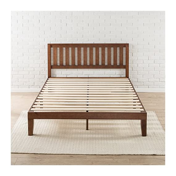 Zinus Vivek 12 Inch Wood Platform Bed with Headboard / No Box Spring Needed / Wood Slat Support / Antique Espresso… - Easy to assemble and no box Spring needed 37 inch high wood paneled headboard Strong wood slat mattress support for increased mattress life - bedroom-furniture, bedroom, bed-frames - 51lIoacgp7L. SS570  -