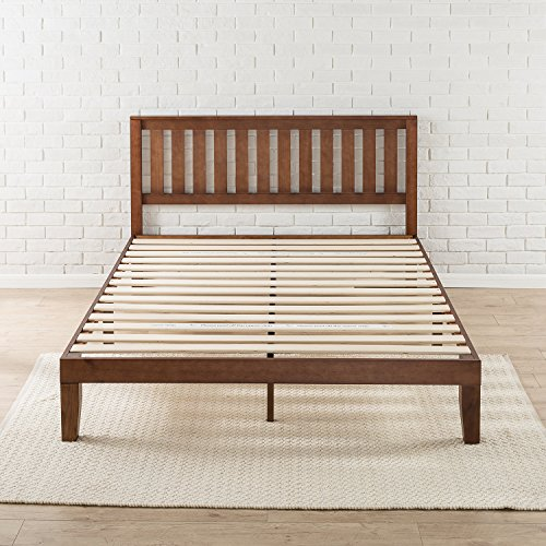 Zinus Vivek 12 Inch Wood Platform Bed with Headboard / No Box Spring Needed / Wood Slat Support / Antique Espresso Finish, Queen