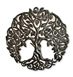 Tree Life Metal Wall Art, Contemporary Iron Artwork Decor, Celtic Family Trees, Round Modern Plaque, Handmade in Haiti,Fair Trade Certified For Sale