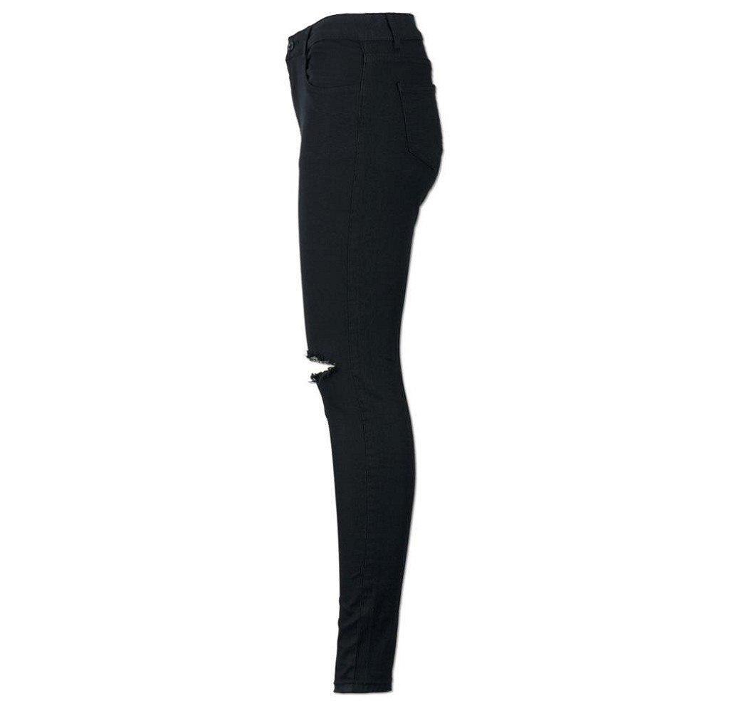 Tongshi Mujeres Slim lápiz pantalones Cool Ripped Knee Cut ...