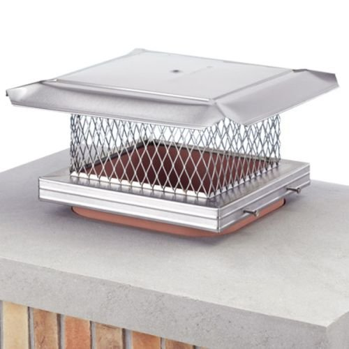 Homesaver 14607 13 Inch x 13 Inch HomeSaver Pro Stainless Steel Chimney Cap 304-alloy 18-ga. Base And Mesh 24-ga. Lid by HOMESAVER