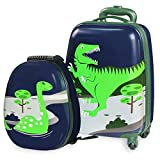 Durable Luggage Set, Lightweight, Hardside Upright Carry On Suitcase, Hard Shell Backpack, School Bag, Travel Journey Gift for 2, 3, 4, 5, 6 Year Old Little Kids, Boy, Girl(Dinosaur) - iPlay, iLearn