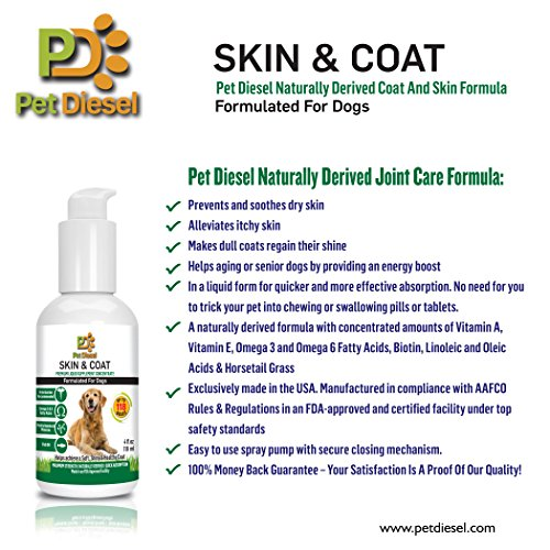 Skin coat liquid supplement for dogs by pet diesel for Fish oil dry skin