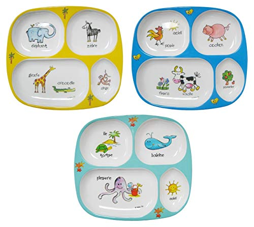 Baby Cie Melamine Sectioned Plates, Set of 3, Jungle Animals, Farm Animals, Ocean Animals ()