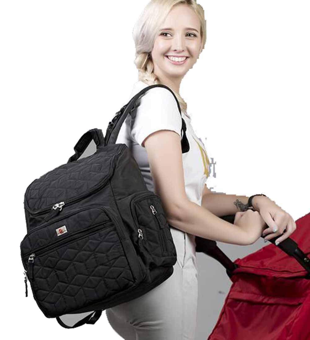 Joyloading Lady Baby Care Style Waterproof Solid Color Mother Multifunctional Shoulders Backpack Black