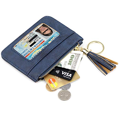 (Mini Slim Wallet - Coin Purse with Key Chain Women Small Zipper Card Holder Wallet)
