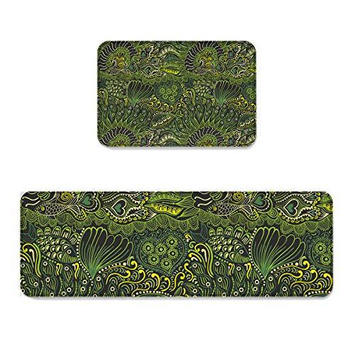 Prime Leader 2 Piece Non-Slip Kitchen Mat Runner Rug Set Doormat Art Sea Grass Fish Door Mats Rubber Backing Carpet Indoor Floor Mat (19.7