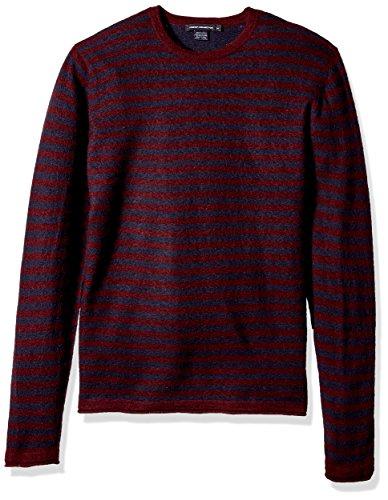 French Connection Men's 2/48's Double Stripe Sweater, Bordeaux/Marine Blue, M