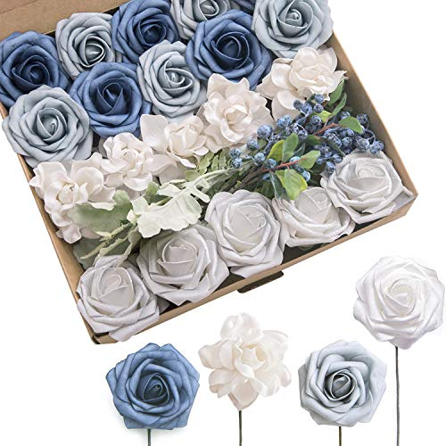 Ling's moment French Dusty Blue Artificial Flowers Combo with Stem for DIY Wedding Bouquets Flower Arrangements Table Centerpieces Cake Flower Decorations (French Dusty Blue) (Centerpiece Blue Table Flower)