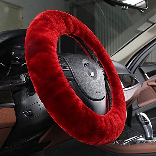 Pure Wool Auto Steering Wheel Cover Genuine Sheepskin Great Grip Anti-slip Car Steering Wheel Cushion Protector Universal 15 inch for Car,Truck,SUV,etc. by Dotesy (Red) (Red Fur Wheel Cover)