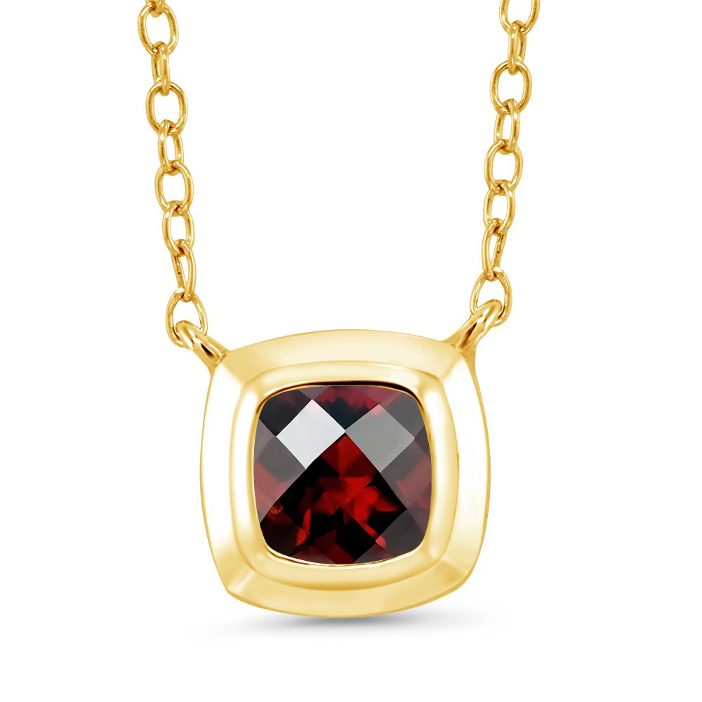 Gem Stone King 0.95 Ct Checkerboard Red Garnet 18K Yellow Gold Plated Silver Pendant With Chain