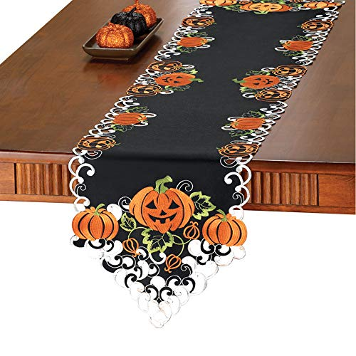 Collections Etc Halloween Pumpkins Table Runner/Topper Linens,